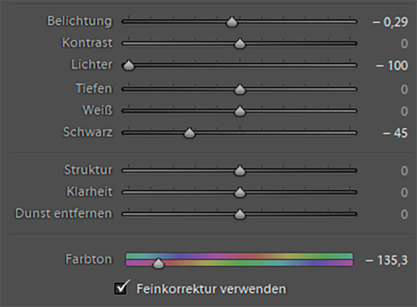 Lightroom Farbton-Regler 03