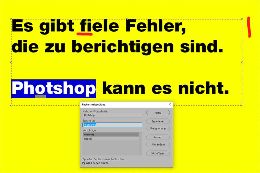 Photoshop, Rechtschreibprüfung, funktioniert nicht, Problem, 04